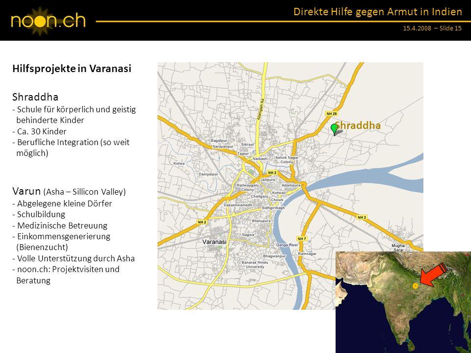 Hilfsprojekte in Varanasi Shraddha