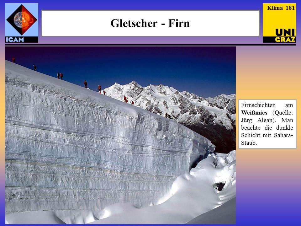 Klima 181 Gletscher - Firn. Firnschichten am Weißmies (Quelle: Jürg Alean).