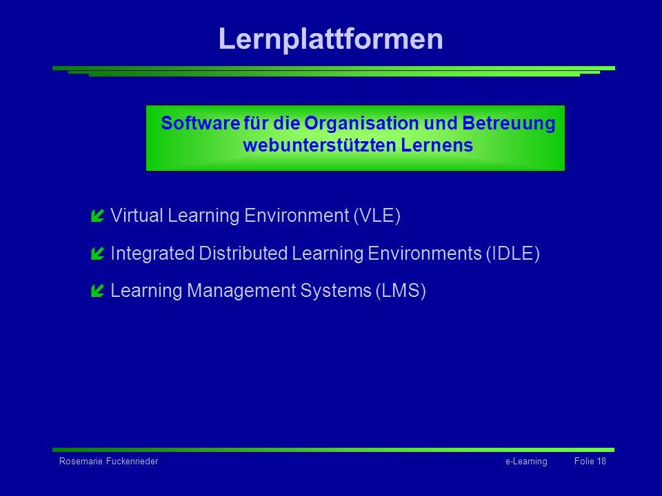 Software für die Organisation und Betreuung webunterstützten Lernens