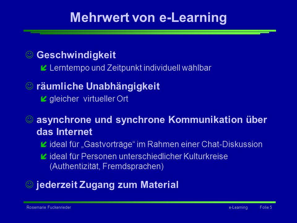 Mehrwert von e-Learning