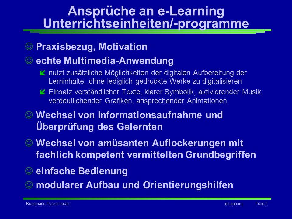 Ansprüche an e-Learning Unterrichtseinheiten/-programme