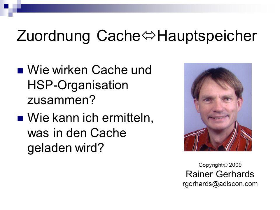 Zuordnung CacheHauptspeicher