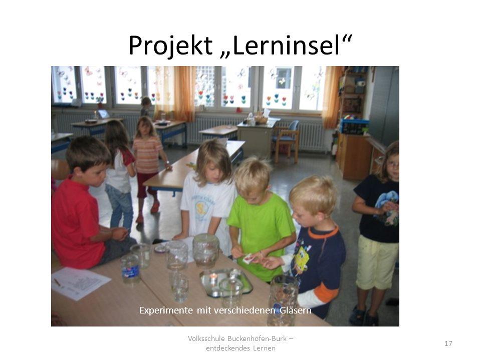 """Projekt """"Lerninsel Experimente mit verschiedenen Gläsern"""