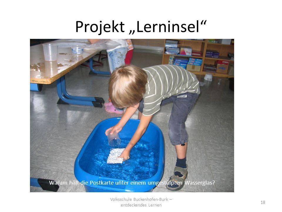 """Projekt """"Lerninsel Warum hält die Postkarte unter einem umgestülpten Wasserglas."""