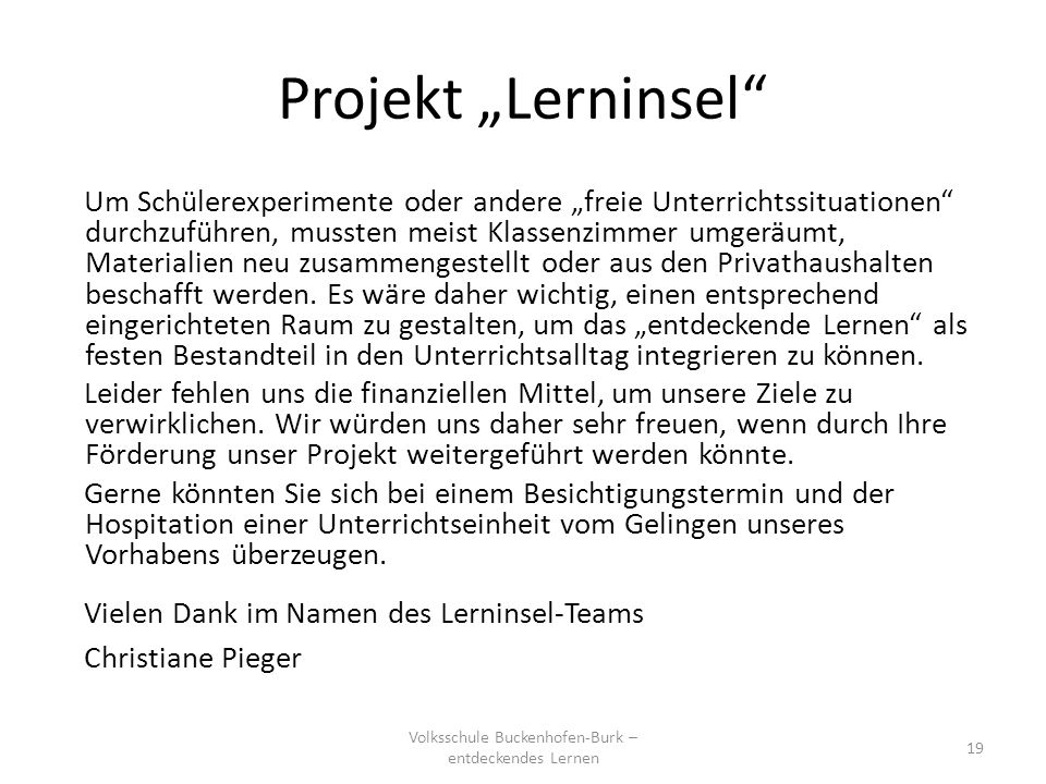 "Projekt ""Lerninsel"