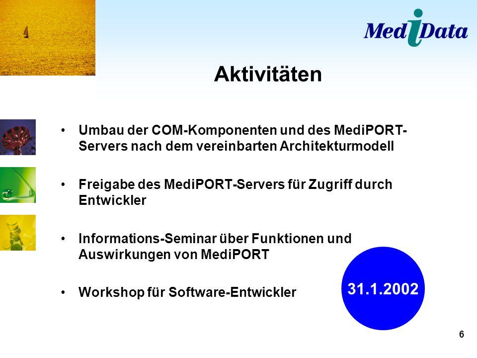 Aktivitäten Umbau der COM-Komponenten und des MediPORT-Servers nach dem vereinbarten Architekturmodell.