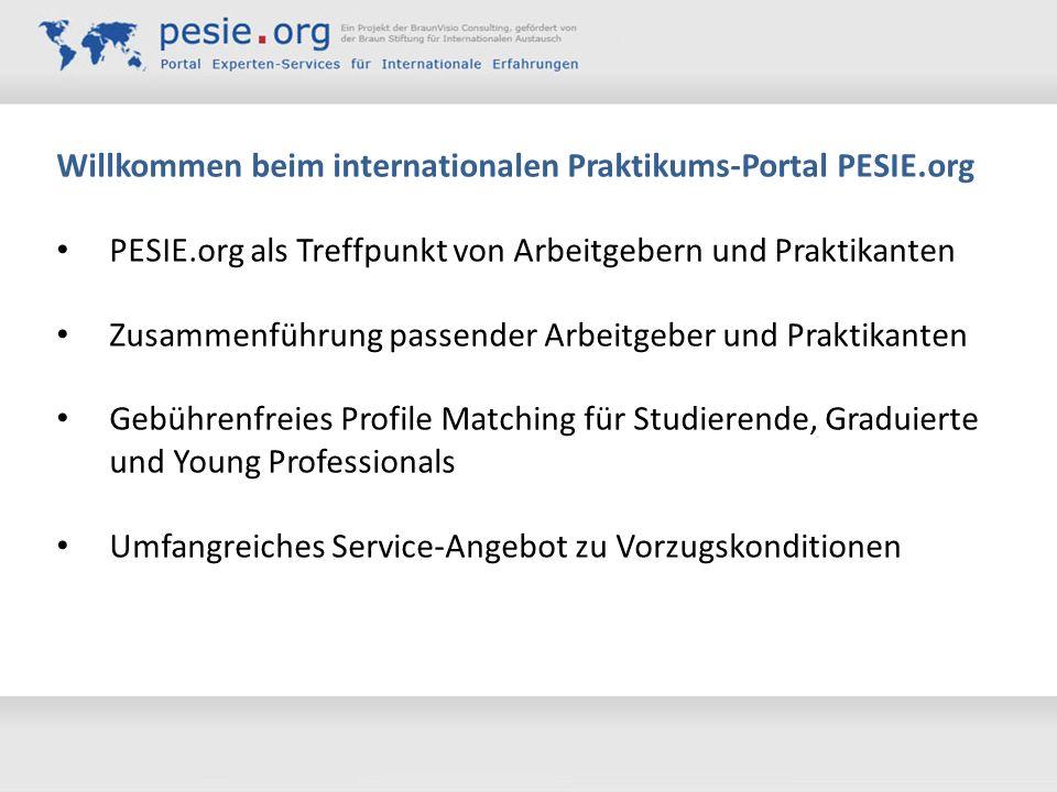 Willkommen beim internationalen Praktikums-Portal PESIE.org