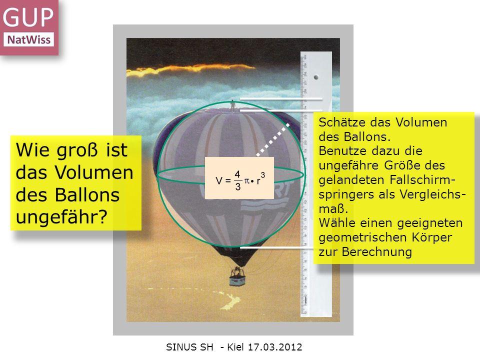 Wie groß ist das Volumen des Ballons ungefähr