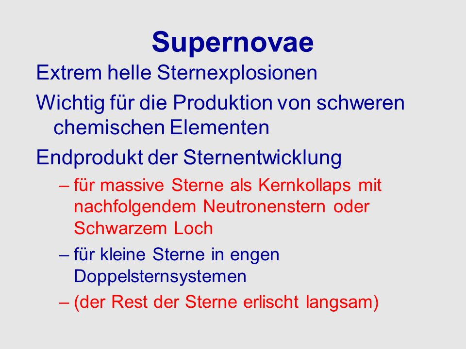 Supernovae Extrem helle Sternexplosionen
