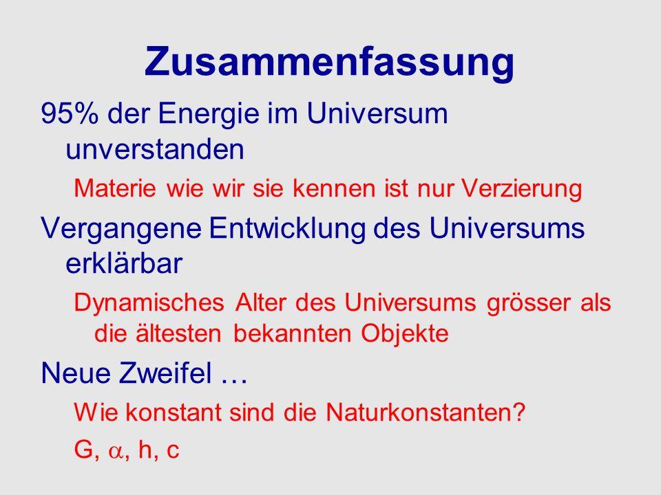 Zusammenfassung 95% der Energie im Universum unverstanden
