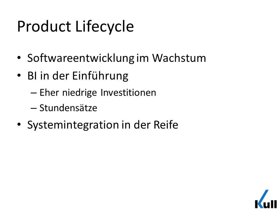 Product Lifecycle Softwareentwicklung im Wachstum BI in der Einführung