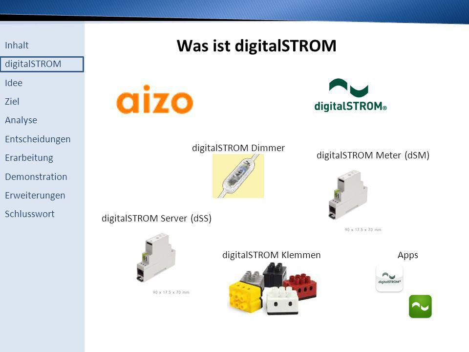 Was ist digitalSTROM digitalSTROM Dimmer digitalSTROM Meter (dSM)