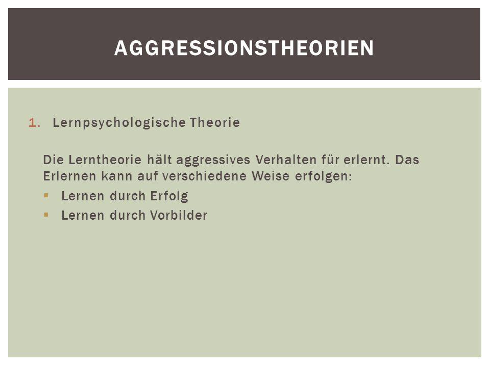 Aggressionstheorien Lernpsychologische Theorie