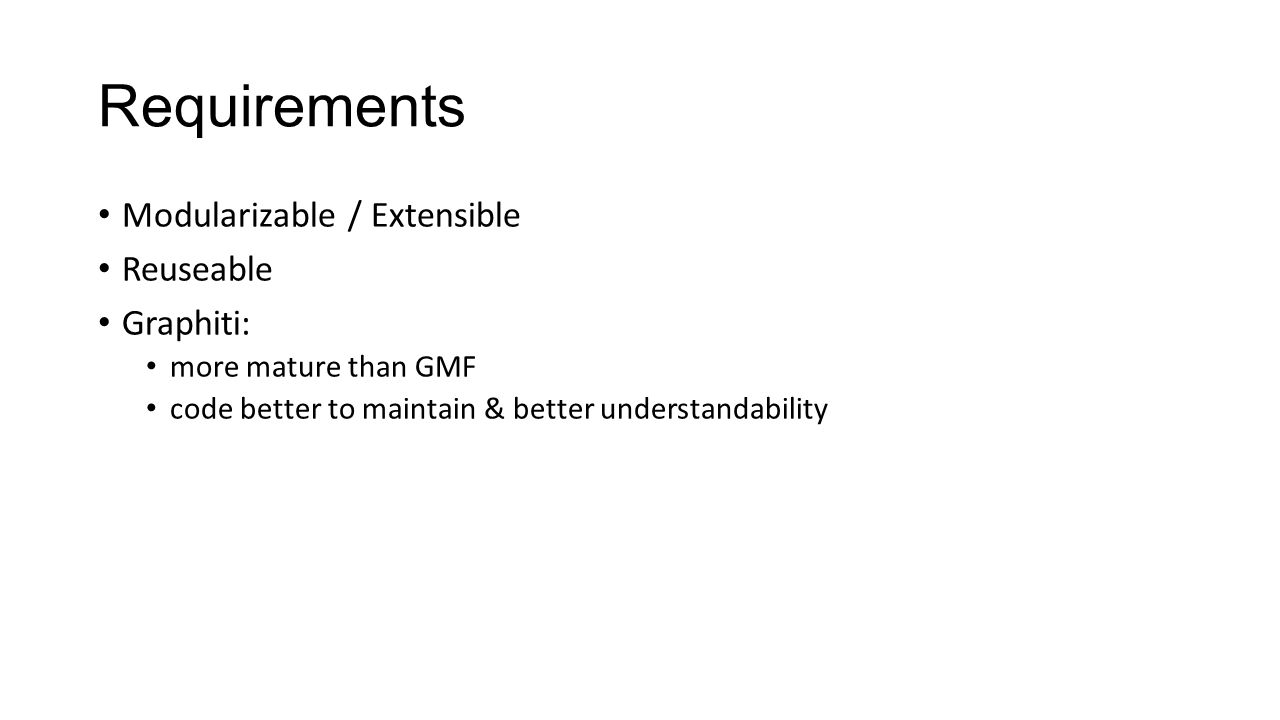 Requirements Modularizable / Extensible Reuseable Graphiti: