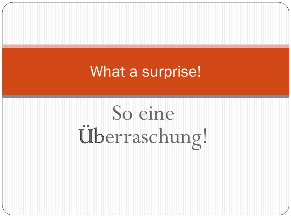 What a surprise! So eine Überraschung!