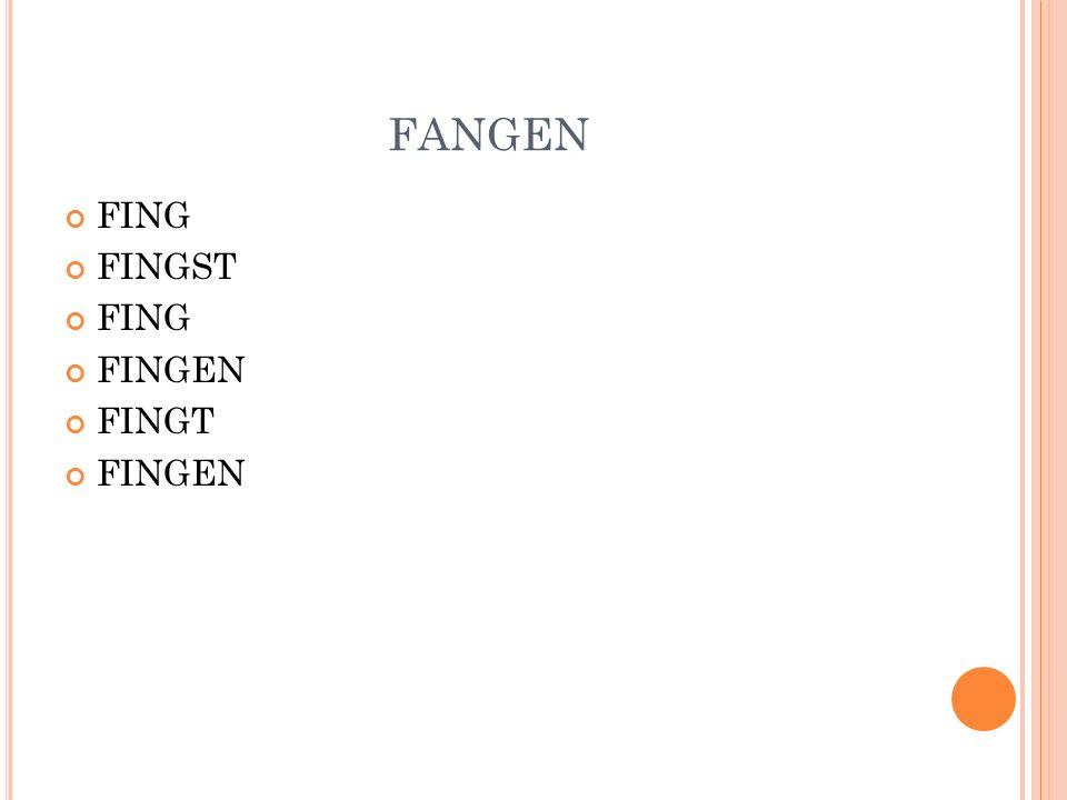FANGEN FING FINGST FINGEN FINGT