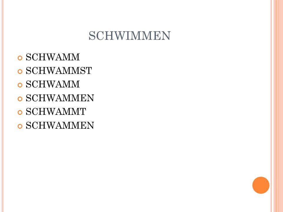 SCHWIMMEN SCHWAMM SCHWAMMST SCHWAMMEN SCHWAMMT