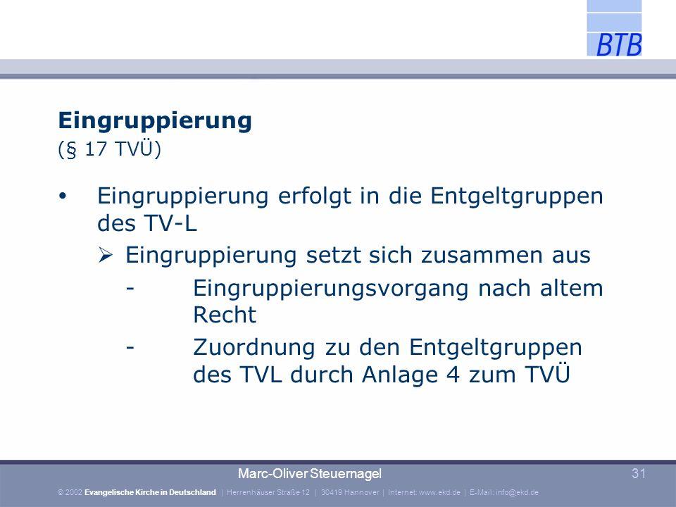 Eingruppierung erfolgt in die Entgeltgruppen des TV-L