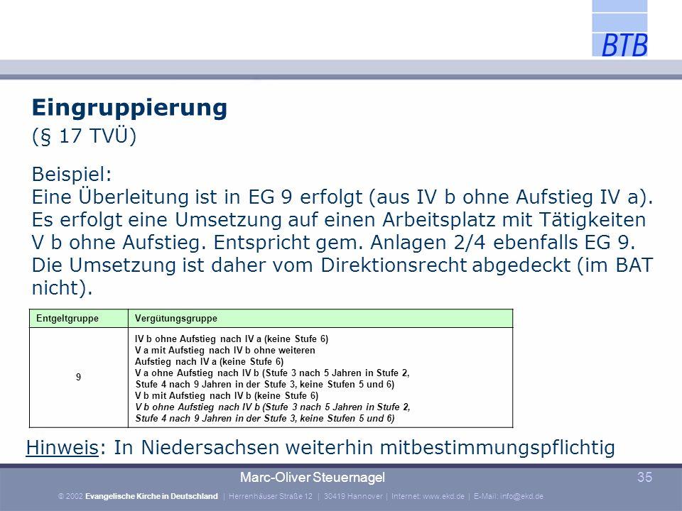 Eingruppierung (§ 17 TVÜ) Beispiel: