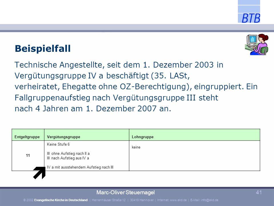 Beispielfall Technische Angestellte, seit dem 1. Dezember 2003 in