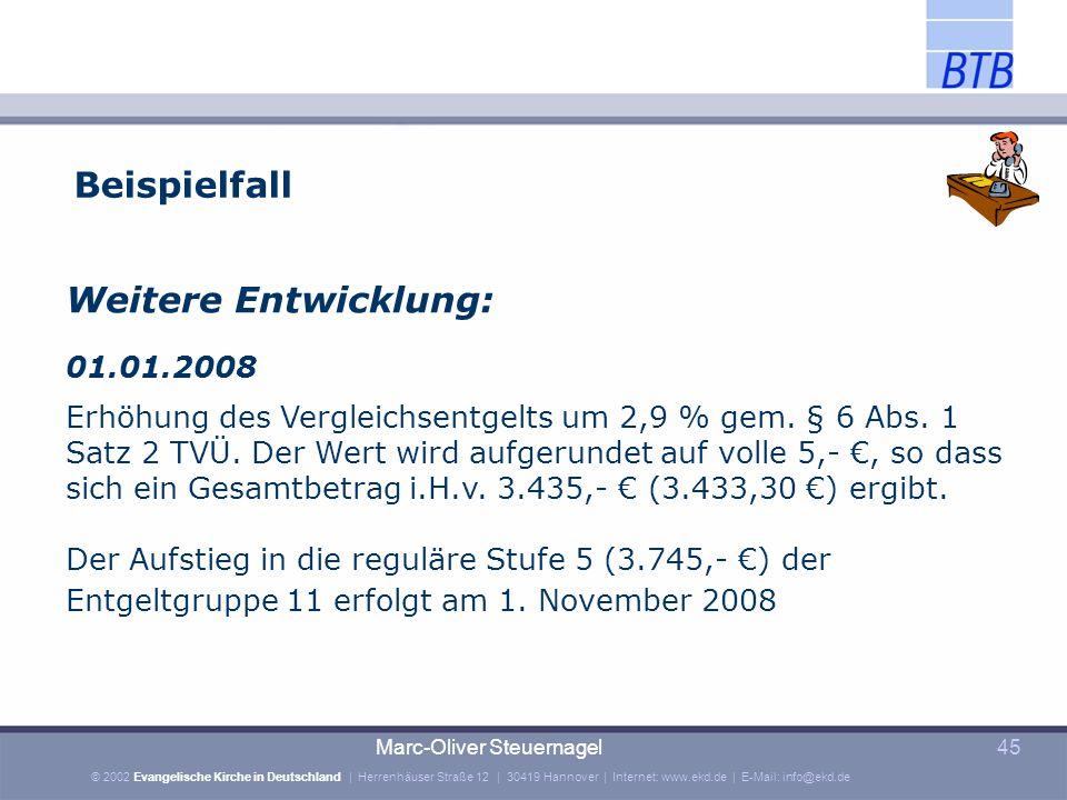 Beispielfall Weitere Entwicklung: 01.01.2008