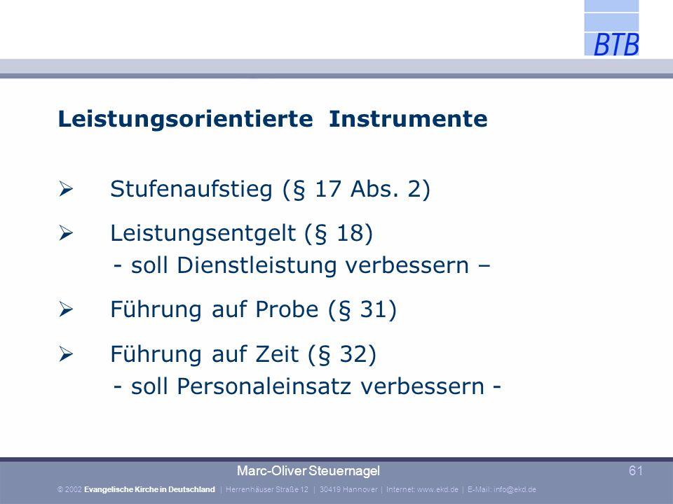 Leistungsorientierte Instrumente Stufenaufstieg (§ 17 Abs. 2)