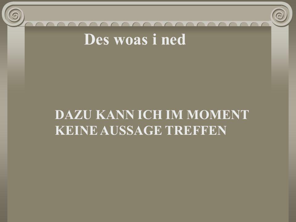 Des woas i ned DAZU KANN ICH IM MOMENT KEINE AUSSAGE TREFFEN