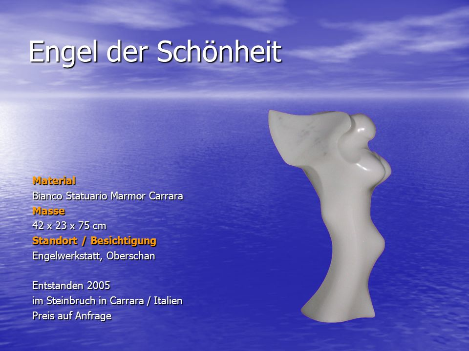 Engel der Schönheit Material Bianco Statuario Marmor Carrara Masse