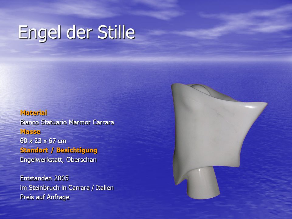 Engel der Stille Material Bianco Statuario Marmor Carrara Masse