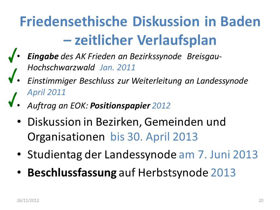 Friedensethische Diskussion in Baden – zeitlicher Verlaufsplan