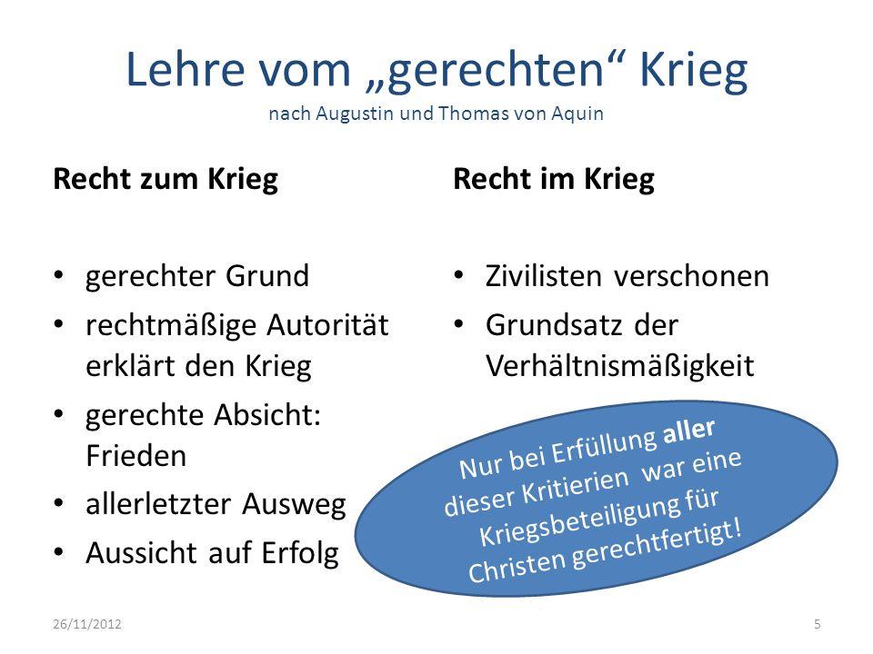 """Lehre vom """"gerechten Krieg nach Augustin und Thomas von Aquin"""