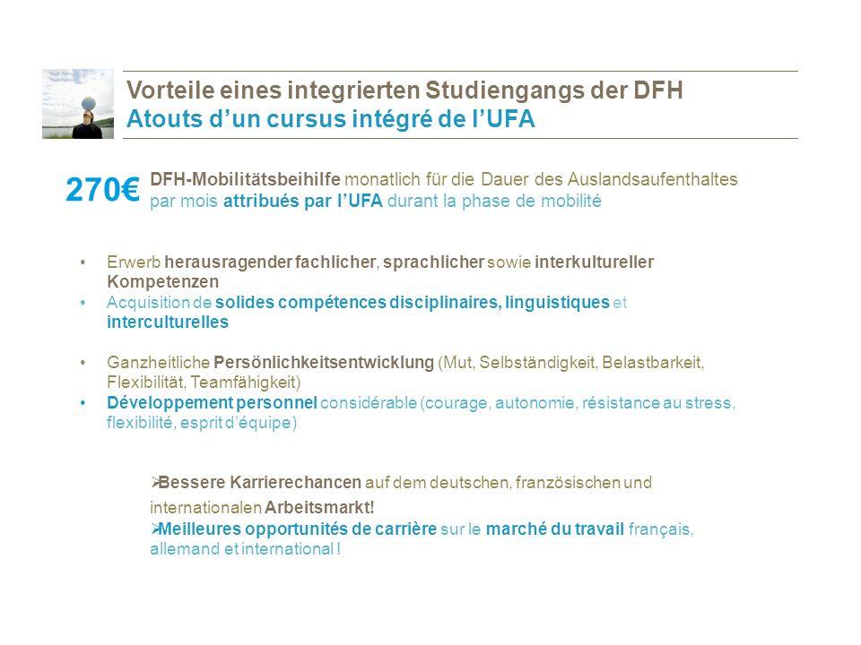 Vorteile eines integrierten Studiengangs der DFH Atouts d'un cursus intégré de l'UFA