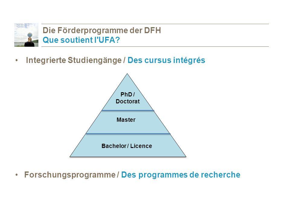 Die Förderprogramme der DFH Que soutient l UFA