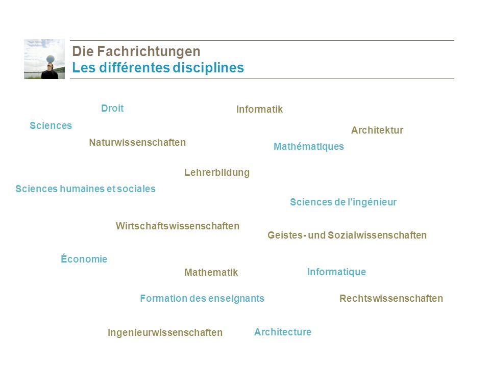 Die Fachrichtungen Les différentes disciplines