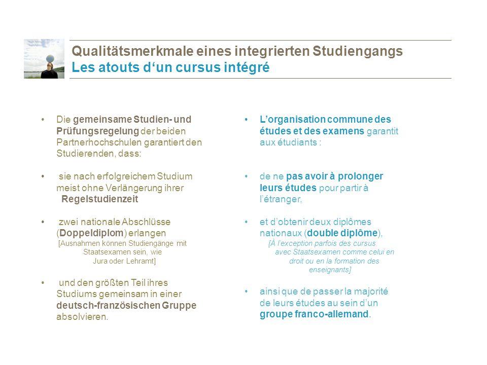Qualitätsmerkmale eines integrierten Studiengangs Les atouts d'un cursus intégré