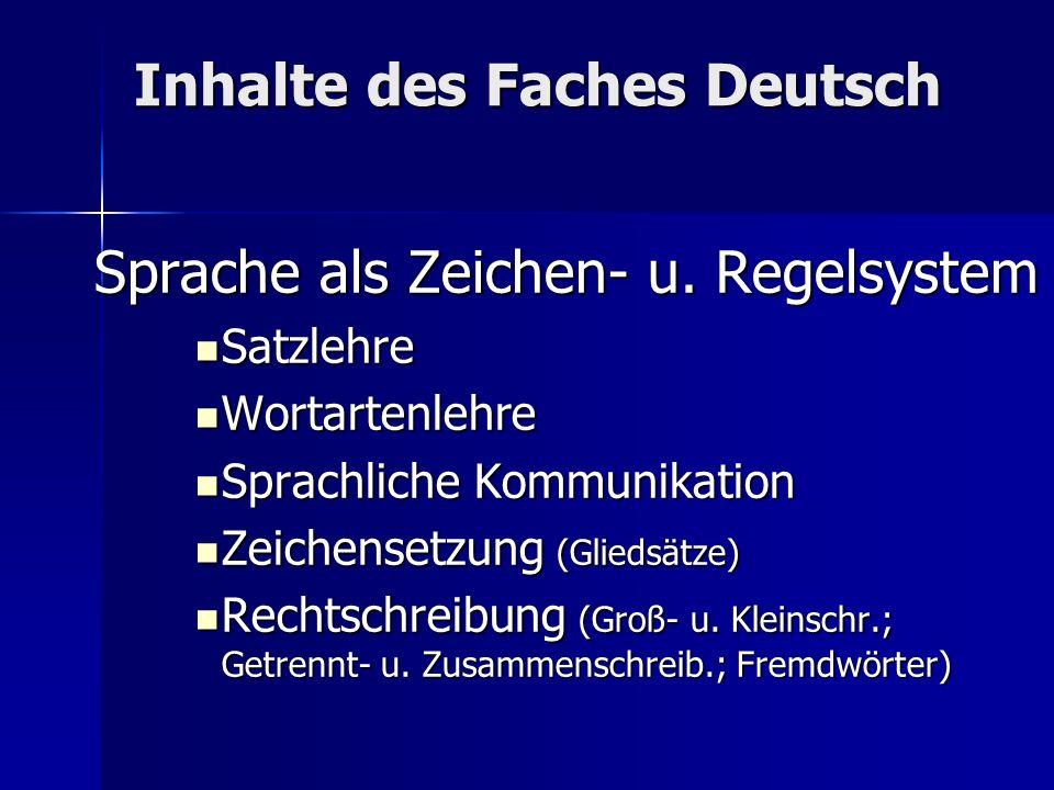 Inhalte des Faches Deutsch