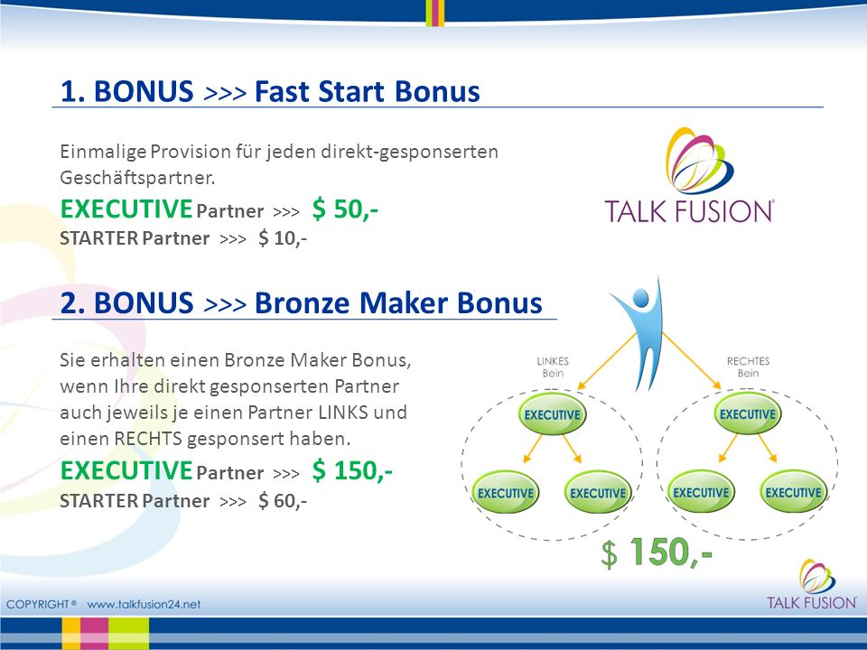 1. BONUS >>> Fast Start Bonus
