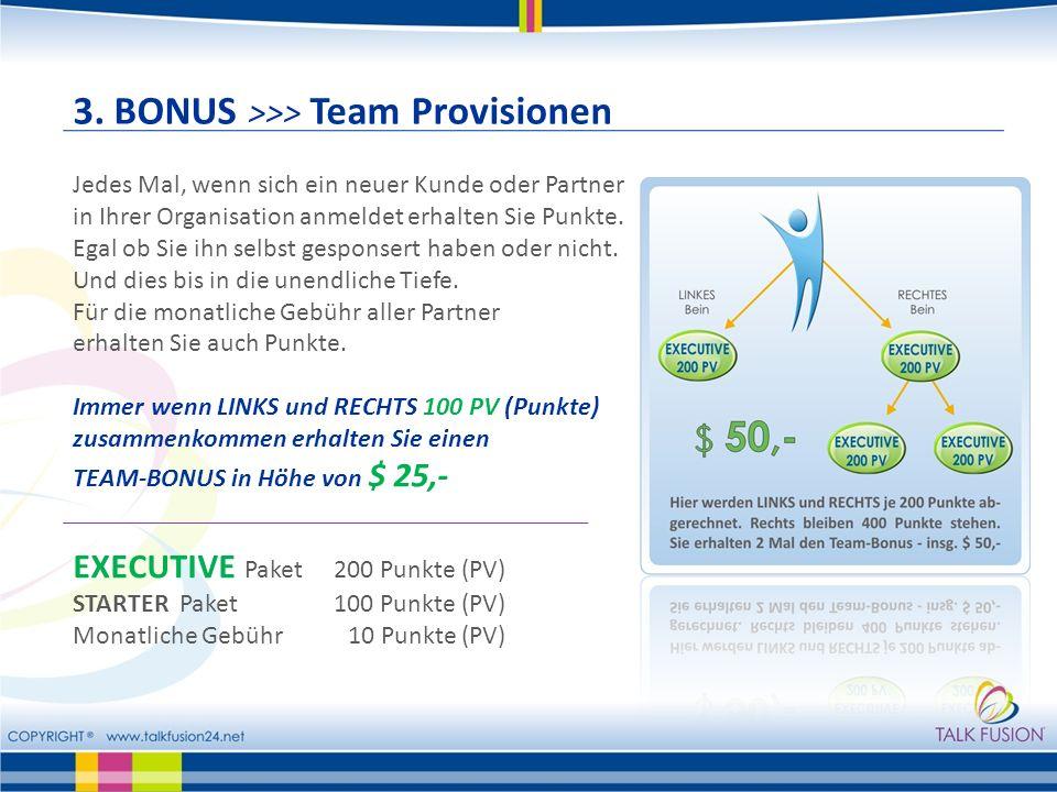 3. BONUS >>> Team Provisionen