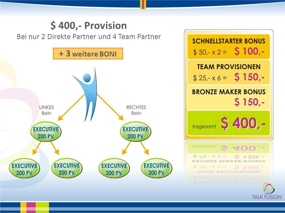 Bei nur 2 Direkte Partner und 4 Team Partner