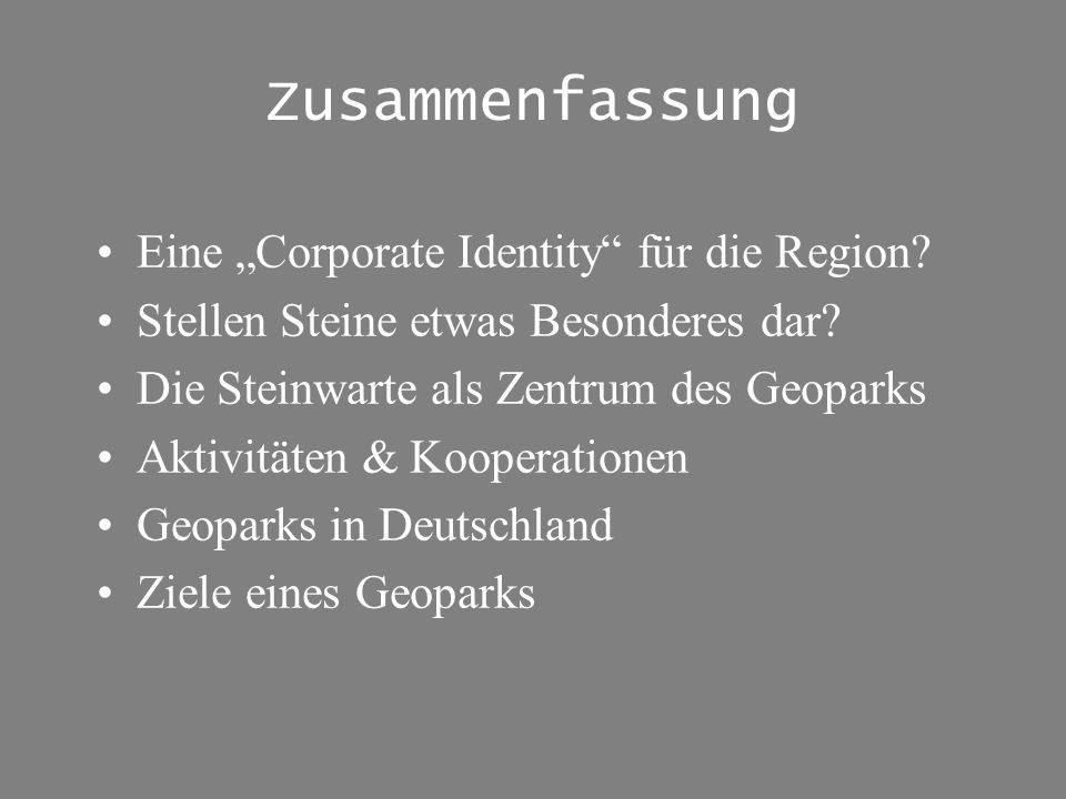 """Zusammenfassung Eine """"Corporate Identity für die Region"""