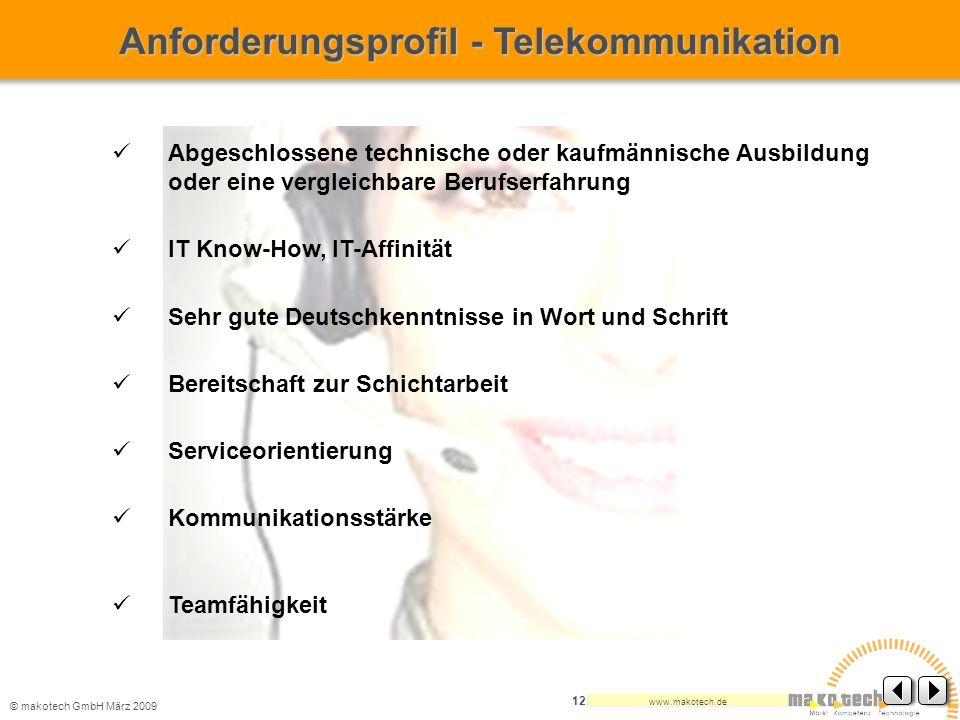 Anforderungsprofil - Telekommunikation