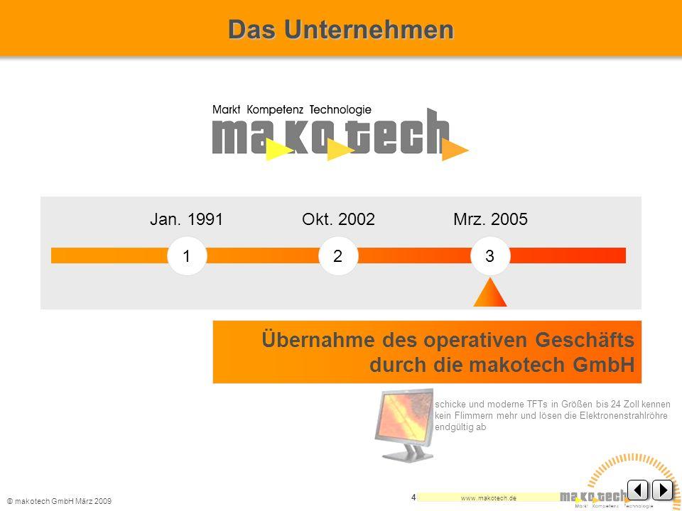 Das Unternehmen Jan. 1991. Okt. 2002. Mrz. 2005. 1. 2. 3. Übernahme des operativen Geschäfts durch die makotech GmbH.