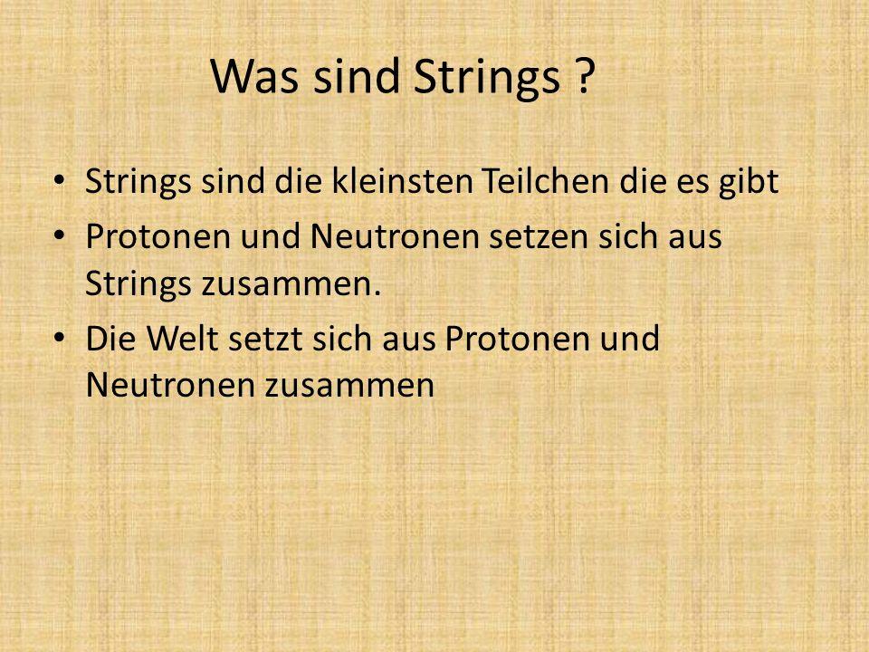 Was sind Strings Strings sind die kleinsten Teilchen die es gibt