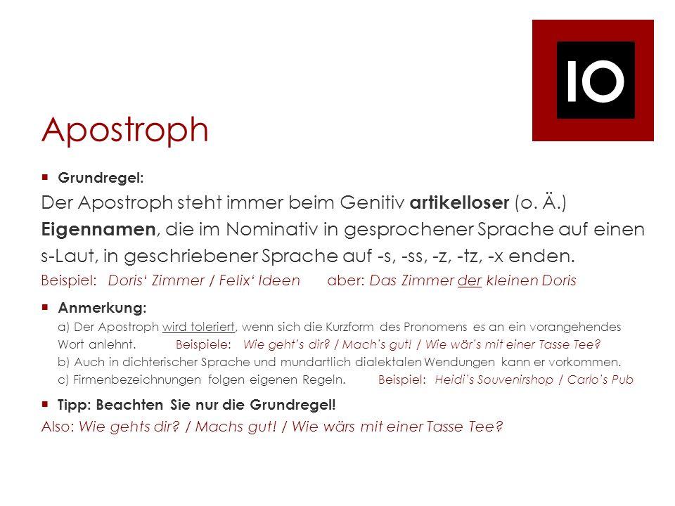 Apostroph Grundregel:
