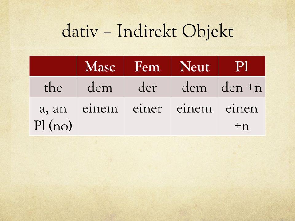 dativ – Indirekt Objekt