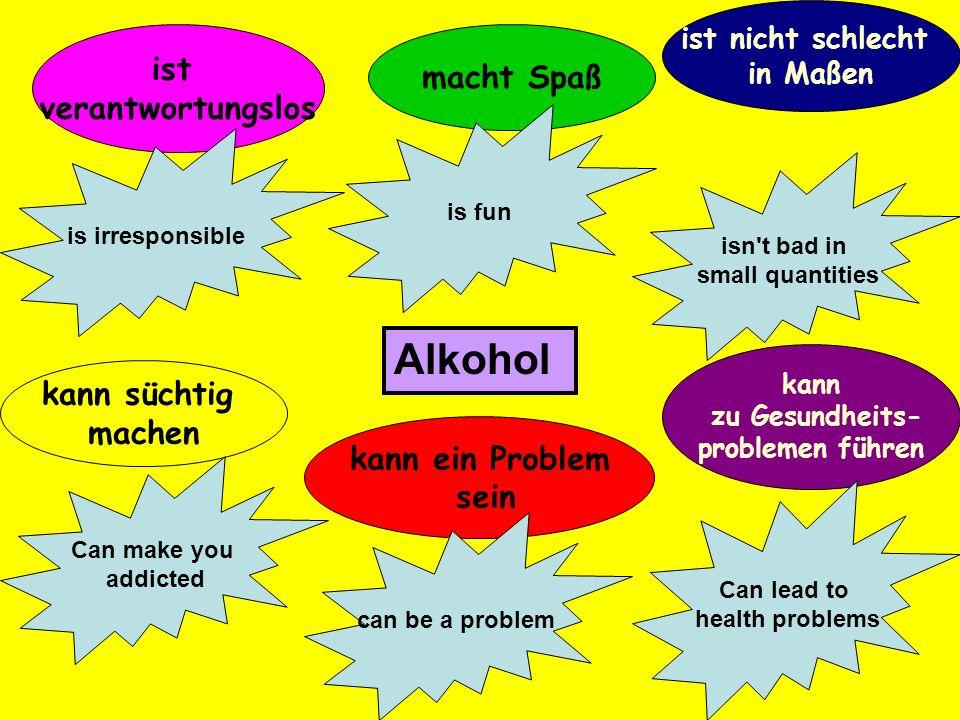 Alkohol ist macht Spaß verantwortungslos kann süchtig machen