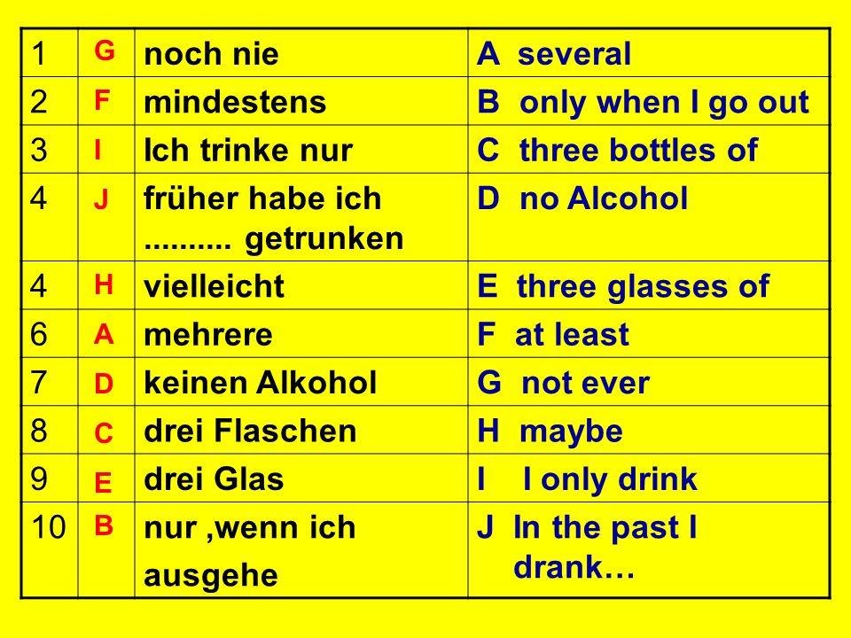 früher habe ich .......... getrunken D no Alcohol vielleicht