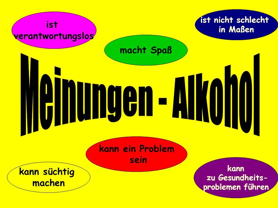 Meinungen - Alkohol ist verantwortungslos macht Spaß kann ein Problem