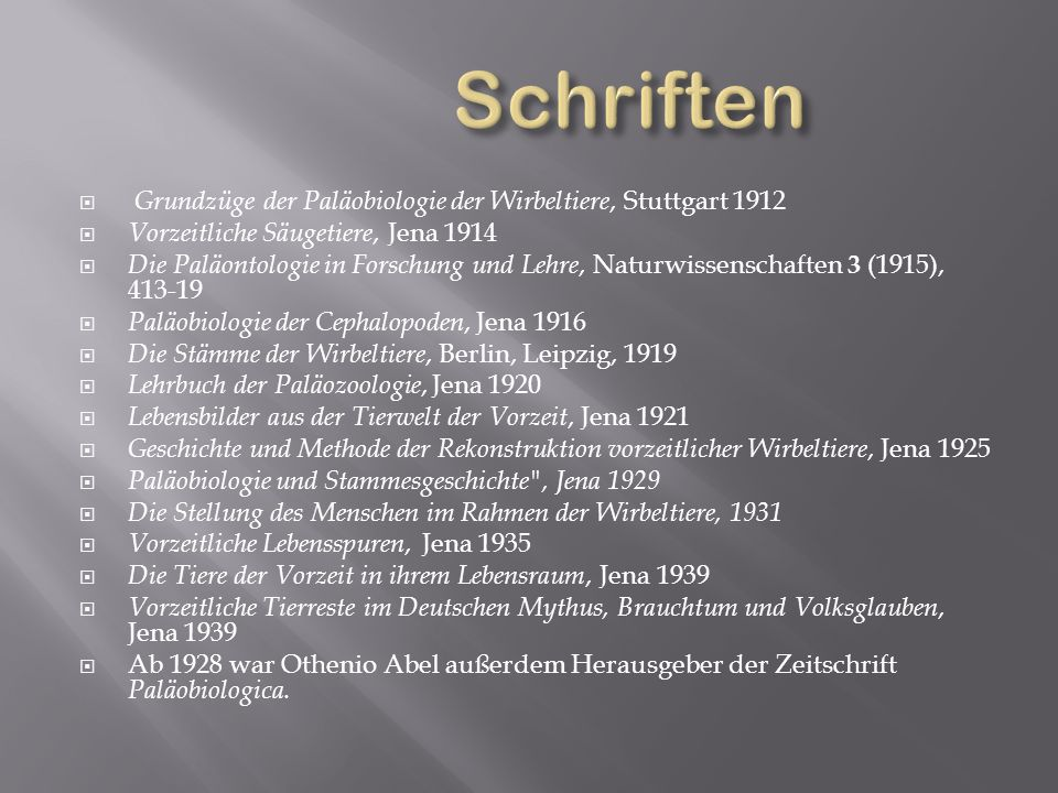 Schriften Grundzüge der Paläobiologie der Wirbeltiere, Stuttgart 1912