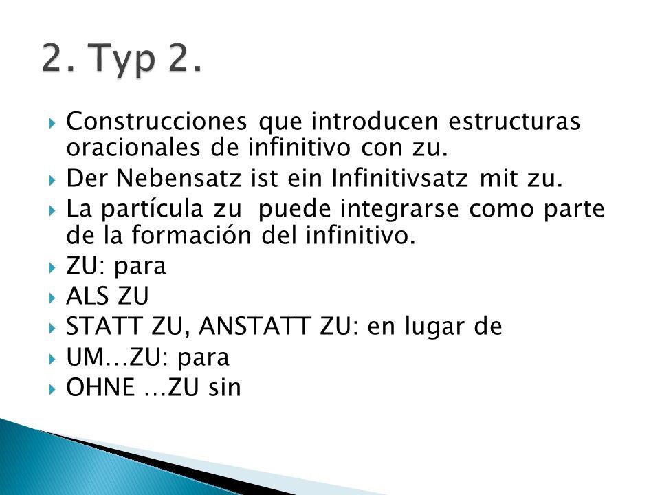 2. Typ 2. Construcciones que introducen estructuras oracionales de infinitivo con zu. Der Nebensatz ist ein Infinitivsatz mit zu.